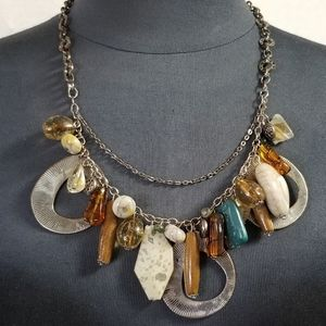 Chico's Vintage Beaded Necklace Silver Toned